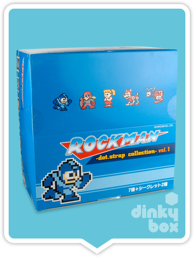 "BLIND BOX CASE : Capcom x Union Creative International Rockman / Mega Man 3"" Dot. Strap Vol.1 SET OF 8 - Full case of 8 blind boxes + FREE POSTAGE - moosedinky"