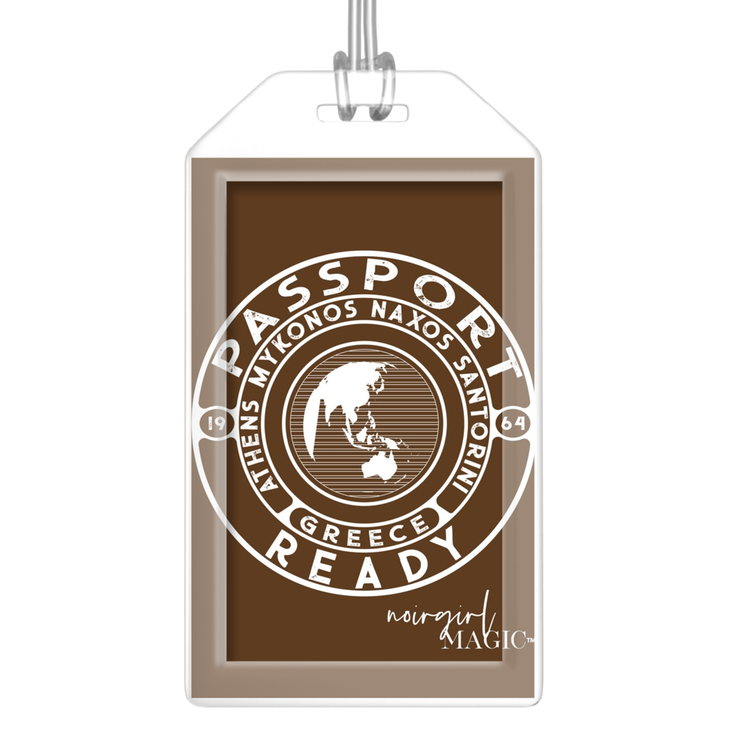 passport ready greece edition luggage tag chocolate brown | Noir Girl Magic
