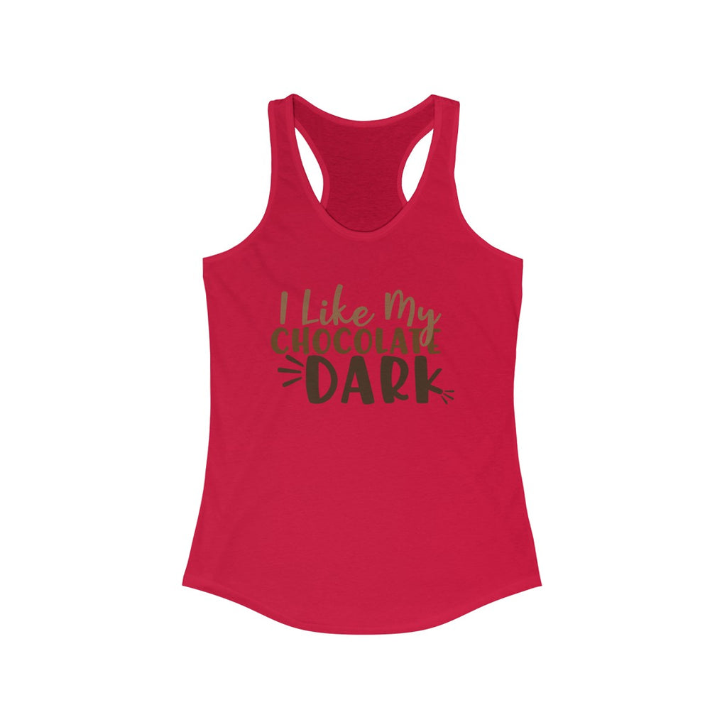 I Like My Chocolate Dark Racerback Tank Solid Red