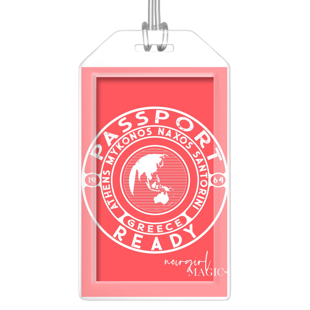 passport ready greece edition luggage tag melon | Noir Girl Magic