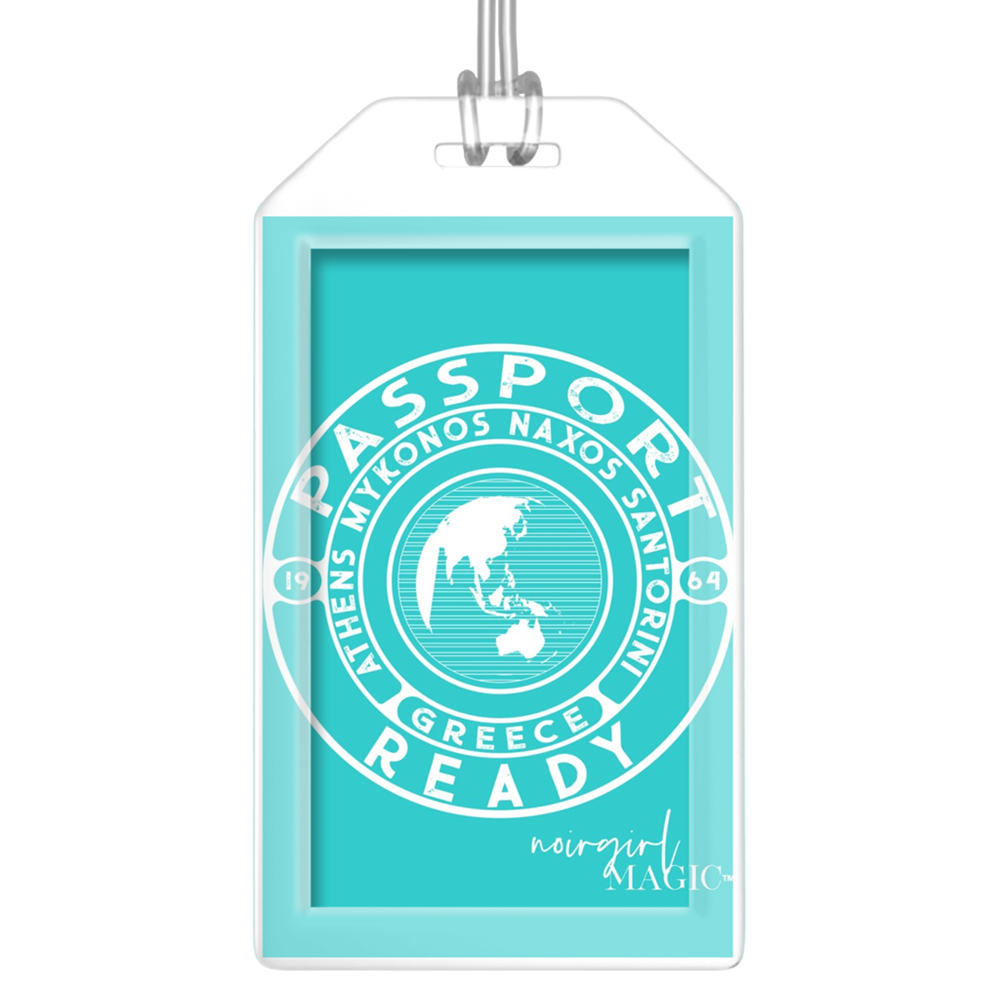 passport ready greece edition luggage tag sea green blue | Noir Girl Magic