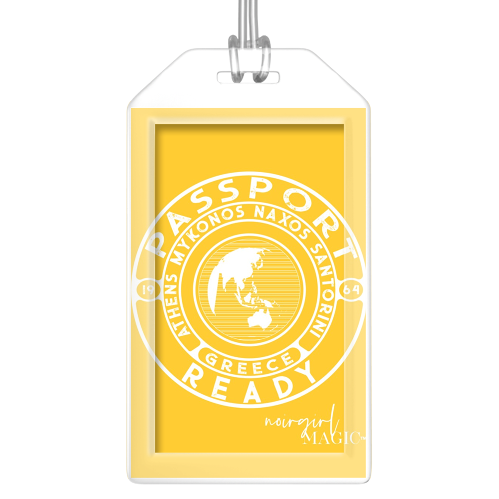 passport ready greece edition luggage tag yellow | Noir Girl Magic