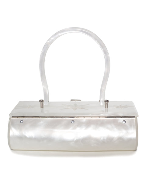 Lucite Box Purse in White - Mini Atomic Totes