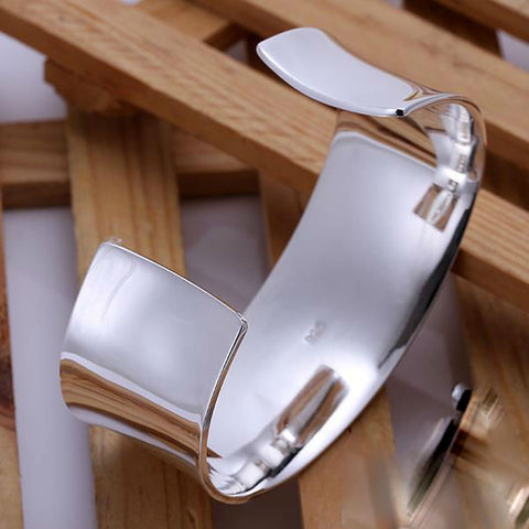 Image of 925 Silver Big Size Cuff Bracelets 28mm(w) Bangles Free Shipping