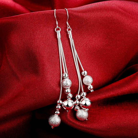 Image of Silver plated Drop Beaded Earrings