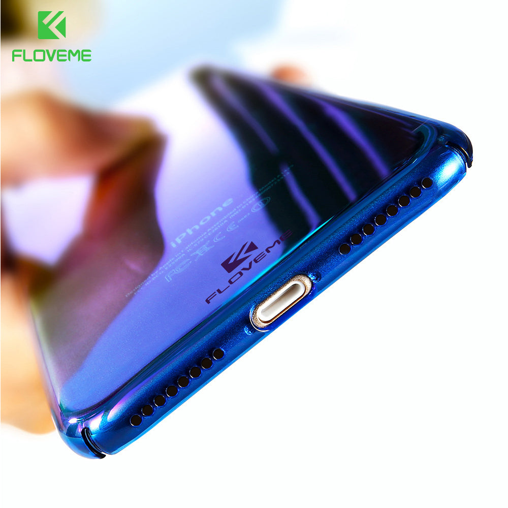 For iPhone 6 6S Plus Case 5 5S SE Gradient Blue-Ray Light Case For Apple iPhone 7 7 Plus 5S 5 SE Clear Accessories Cover