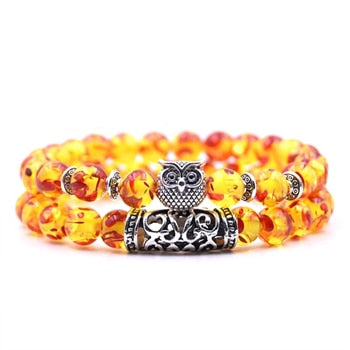 8mm Owl Stone Bracelet Sets Charms Friendship Bracelets & Bangles in 16 Colors different colors of 2Pcs/sets