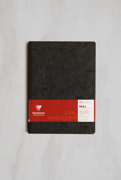 Clairefontaine - Cloth-Bound Notebook - Ruled - A5 - Black