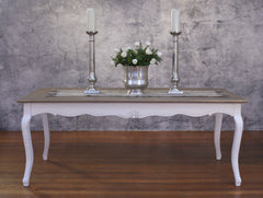 Dining Table French Provincial 2x1m Timber Top Antiqued Design French Legs