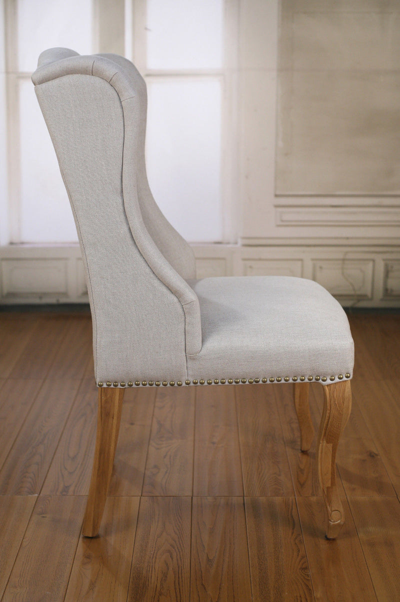 Dining Chair French Provincial Oak and Linen Bedroom Decor Chair Brand New