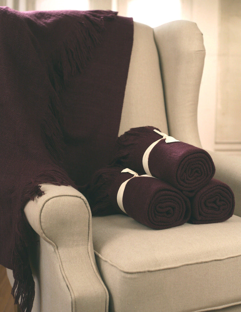Throw Rug Soft Touch Throw Blanket Decorative Bedding Blanket 127x150cms - PLUM