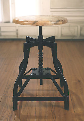 Stool Metal Base Hardwood French Industrial Provincial Hardwood Rustic Bar Stool