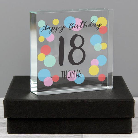 Personalised Birthday Age Colour Confetti Large Crystal Token from Pukkagifts.uk