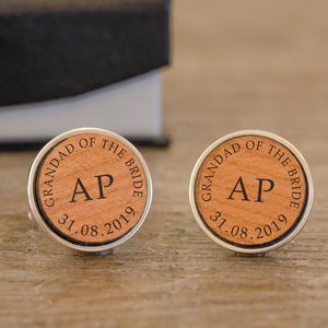 Personalised Grandad Of The Bride Wooden Cufflinks from Pukkagifts.uk