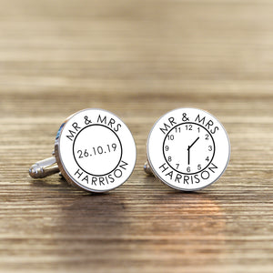 Personalised Mr & Mrs Time Clock Wedding Cufflinks from Pukkagifts.uk