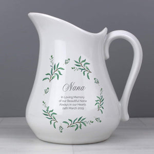 Personalised Eucalyptus Ceramic Flower Jug from Pukkagifts.uk
