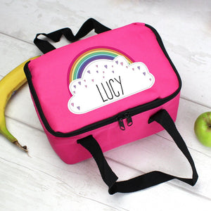 Personalised Rainbow Cloud Pink Lunch Bag