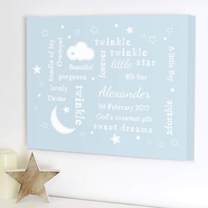 Personalised Twinkle Twinkle Little Star Typography Blue Canvas from Pukkagifts.uk
