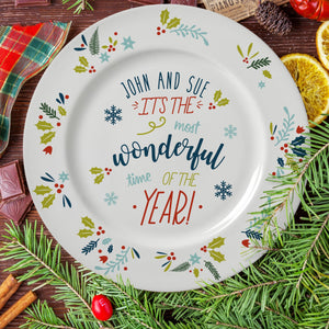 Personalised It's The Most Wonderful Time Of The Year Christmas Plate from Pukkagifts.uk