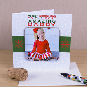 Merry Christmas To The Most Amazing Greetings Card With Photo Coaster from Pukkagifts.uk