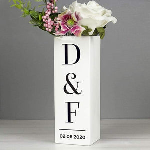Personalised Initials Square Vase from Pukkagifts.uk