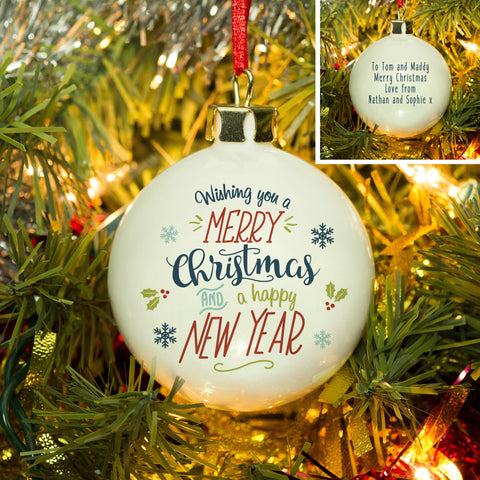 Personalised Wishing You A Merry Christmas And A Happy New Year Bauble from Pukkagifts.uk