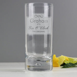 Personalised Gin O'Clock Hi Ball Glass from Pukkagifts.uk