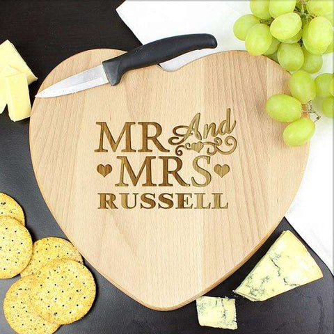 Engraved Mr & Mrs Heart Chopping Board from Pukkagifts.uk