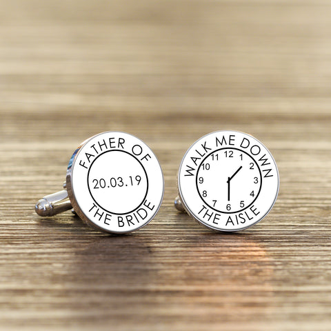 Personalised Father Of The Bride Walk Me Down The Aisle Cufflinks from Pukkagifts.uk