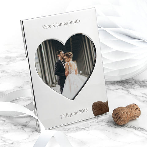 PERSONALISED SILVER PLATED HEART PHOTO FRAME from Pukkagifts.uk