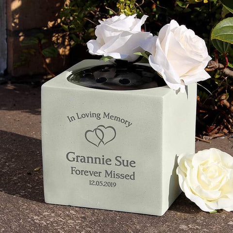 Personalised Floating Hearts Memorial Graveside Vase from Pukkagifts.uk