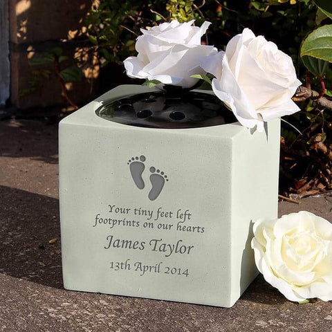 Personalised Footprints Memorial Graveside Vase from Pukkagifts.uk