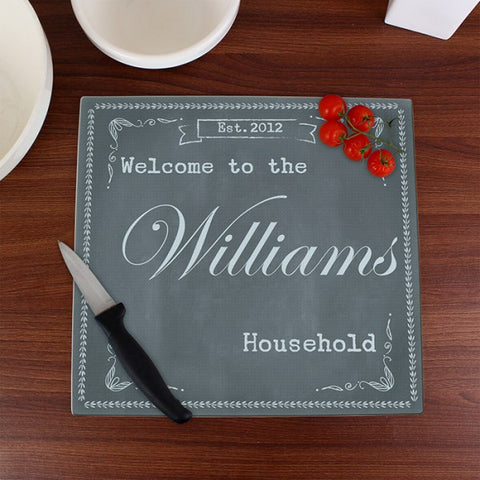 Personalised Family Chalk Glass Chopping Board/Workshop Saver from Pukkagifts.uk