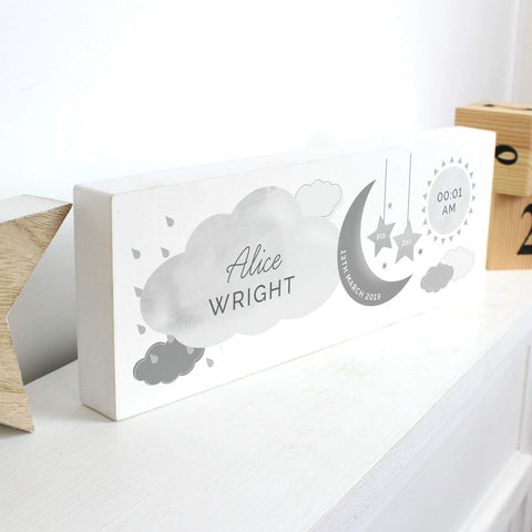 Personalised New Baby Moon & Stars Wooden Block Nursery Sign from Pukkagifts.uk