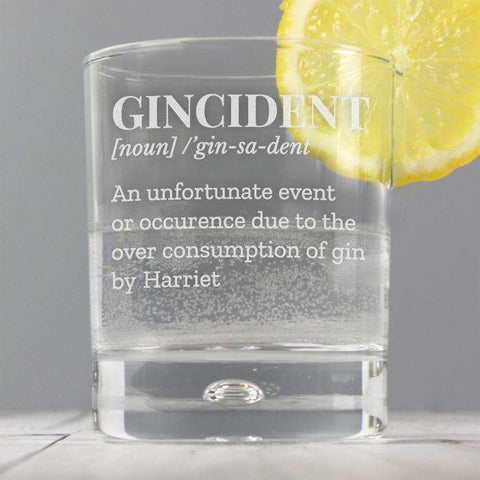 Personalised Gincident Glass from Pukkagifts.uk