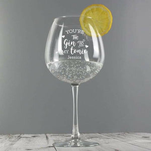 Personalised Gin to My Tonic Gin Balloon Glass from Pukkagifts.uk