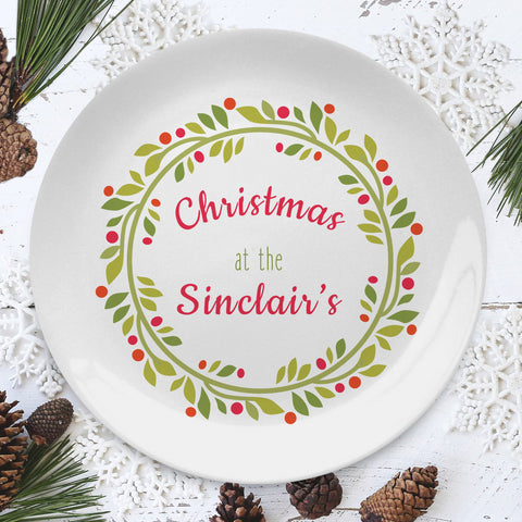 "Personalised Christmas Wreath 8"" Plate from Pukkagifts.uk"