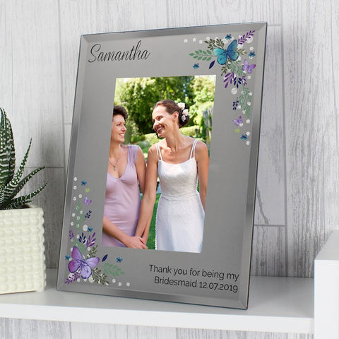Personalised Butterfly Diamante Glass Photo Frame 4x6 from Pukkagifts.uk