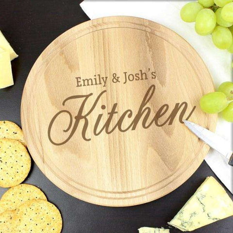 Engraved Kitchen Round Chopping Board from Pukkagifts.uk