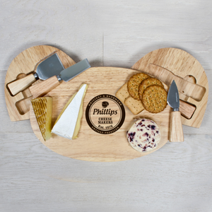 Personalised Cheese Makers Oval Cheese Board with Knives from Pukkagifts.uk