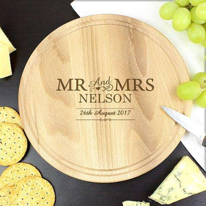 Engraved Mr & Mrs Round Chopping Board from Pukkagifts.uk
