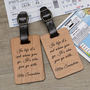 Personalised Pair of Wooden Luggage Tags from Pukkagifts.uk