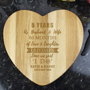 Personalised 5th Anniversary Wooden Heart Chopping Board From Pukkagifts.uk