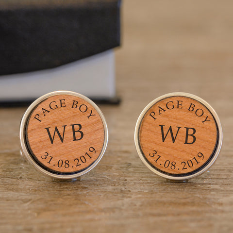 Personalised Page Boy Wooden Cufflinks from Pukkagifts.uk