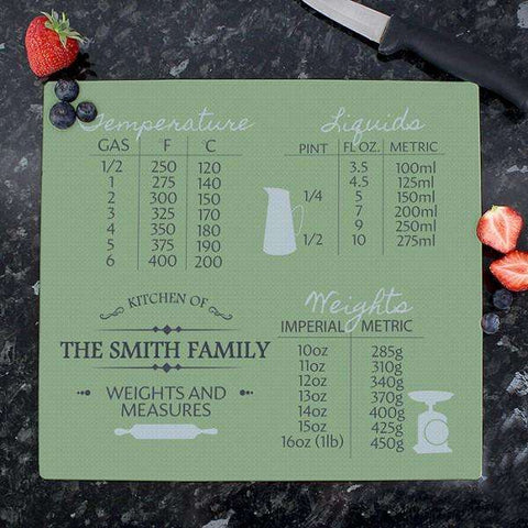 Personalised Conversions Glass Chopping Board from Pukkagifts.uk