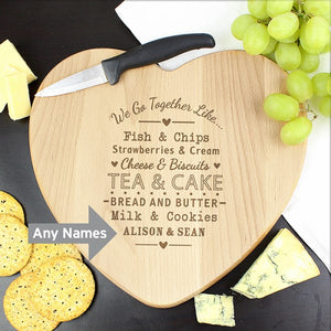 Personalised We Go Together Like Heart Chopping Board from Pukkagifts.uk