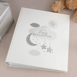 Personalised New Baby Moon & Stars Photo Album with Sleeves from Pukkagifts.uk