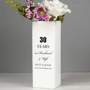 Personalised Anniversary Square Vase From Pukkagifts.uk
