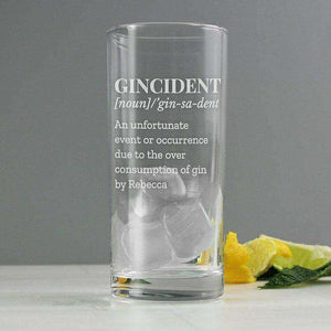 Personalised Gincident Highball Glass from Pukkagifts.uk