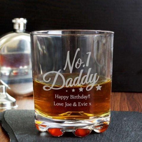 Personalised No.1 Daddy Glass Tumbler from Pukkagifts.uk
